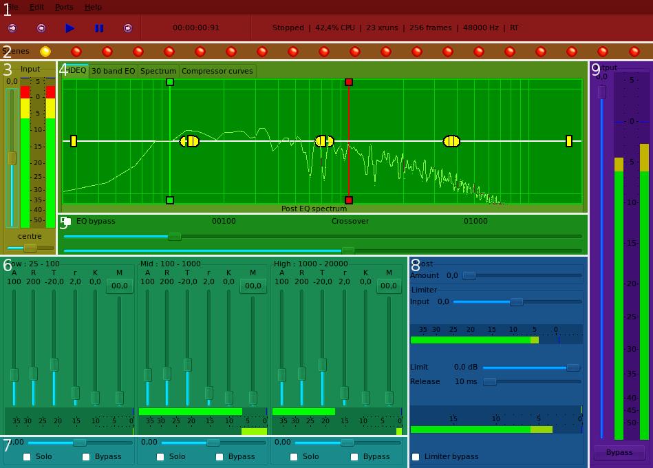 Interfejs JAMina podczas pracy - wtyczki masteringowe