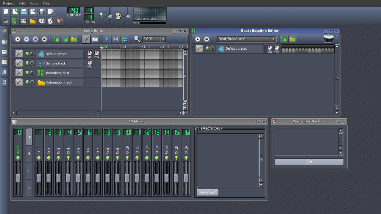 Interfejs DAW | LMMS - Linux MultiMedia Studio